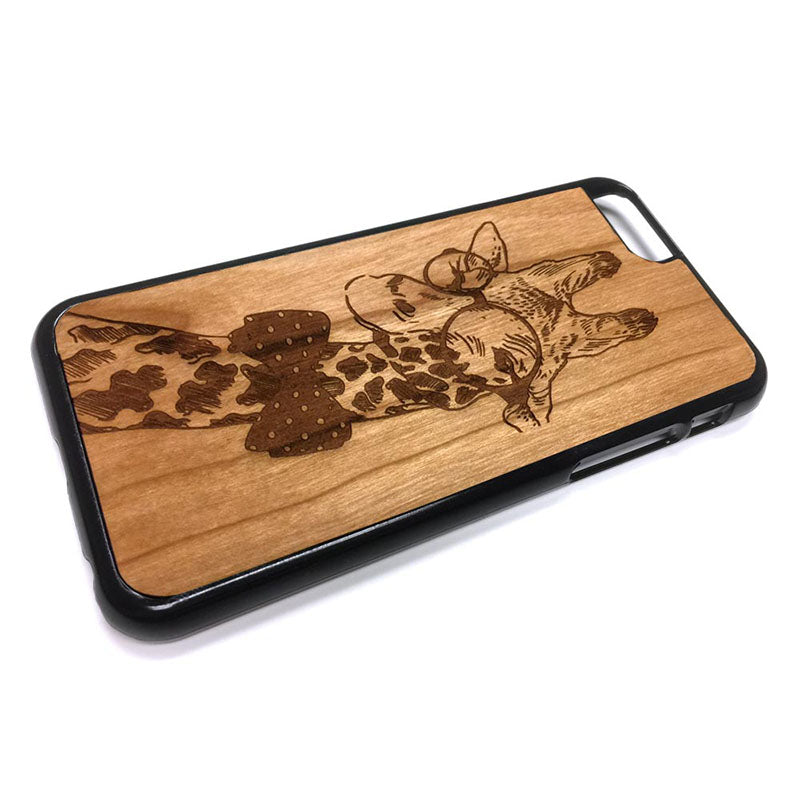 Giraffe with Bow Tie iPhone Case Carved Engraved design on Real Natural Wood - For iPhone X/XS, 7/8, 6/6s, 6/6s Plus, SE, 5/5s, 5C, 4/4s