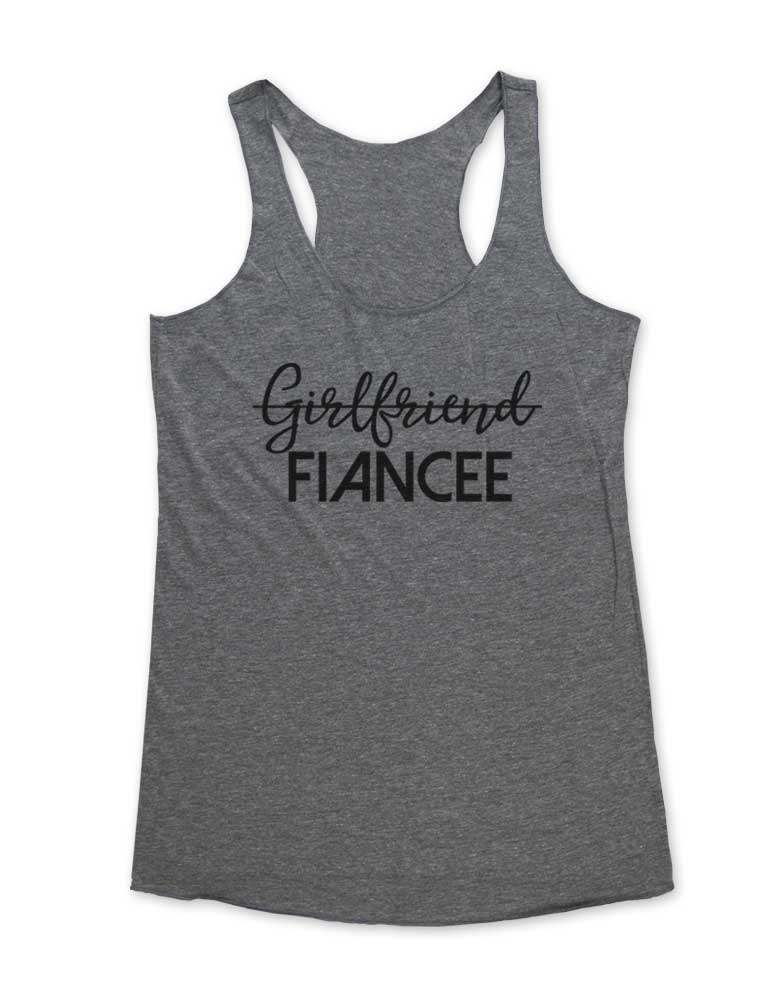 Girlfriend Fiancee - Marriage Proposal Soft Tri-Blend Racerback Tank - Fitness workout gym exercise tank