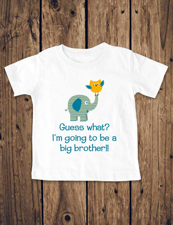 Guess what? I'm going to be a big brother!! Elephant Owl Design - Birth Pregnancy Announcement - Infant, Toddler, Youth Shirt