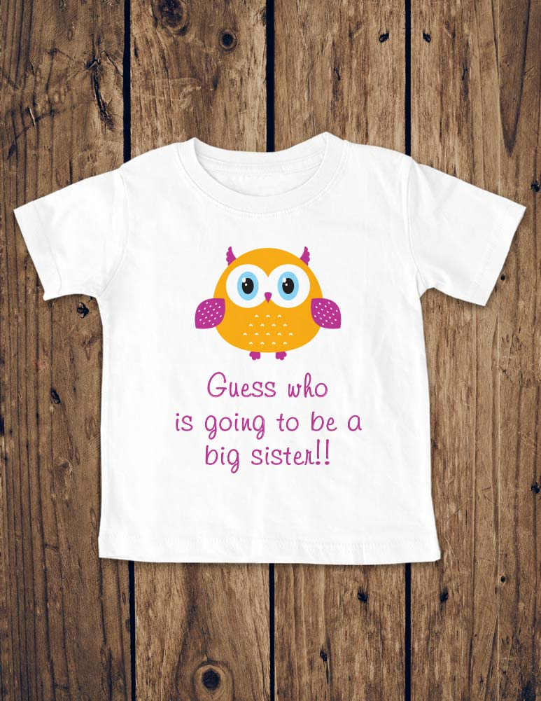 Guess who is going to be a big sister!!! Birth Pregnancy Announcement - Infant, Toddler, Youth Shirt