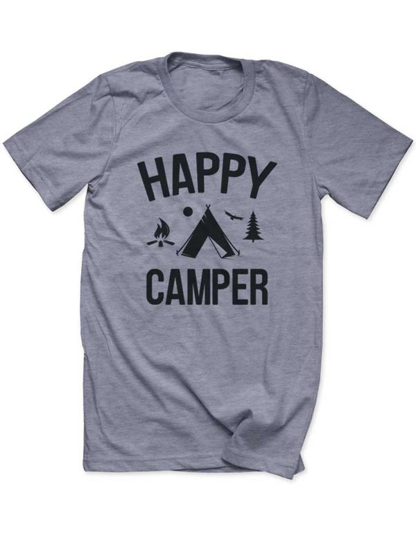 Happy Camper Tent Trees Mountain Camp fire - Men / Unisex T-Shirt - funny birthday gift tee - Many Sizes and Colors available