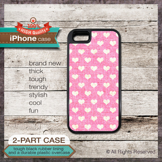 Hearts Pattern on Pink Linen Texture Design - Choose from iPhone 4/4S, 5/5S, 5C, Samsung Galaxy S3 or S4 Case