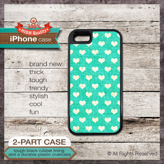 Hearts Pattern on Teal Linen Texture Design - Choose from iPhone 4/4S, 5/5S, 5C, Samsung Galaxy S3 or S4 Case