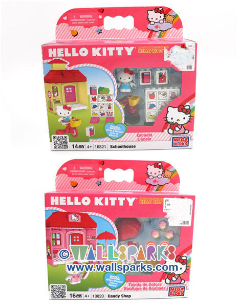 Megabloks HELLO KITTY School House and Candy Shop Set