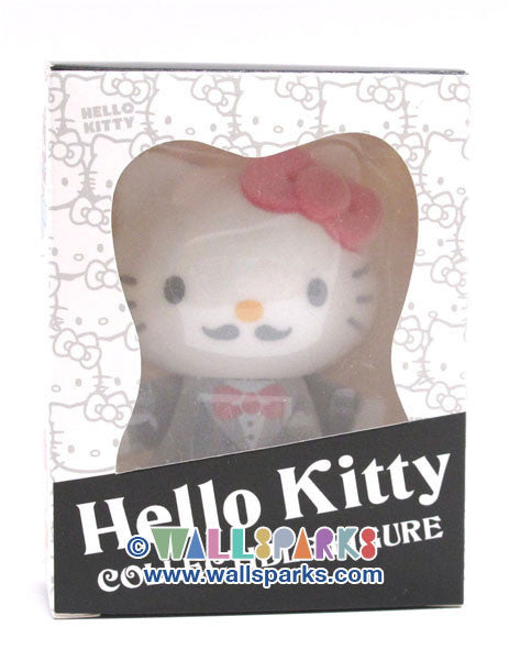 "HELLO KITTY Sanrio Collectable Mini Figure Tuxedo Flock Covered 3"" Figure"