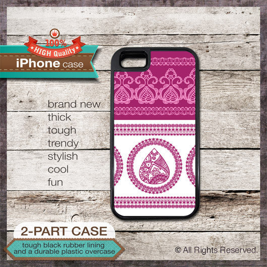 Henna Design Pink Color - Choose from iPhone 4/4S, 5/5S, 5C, Samsung Galaxy S3 or S4 Case