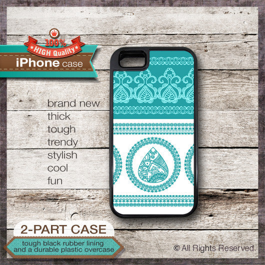 Henna Design Teal Color - Choose from iPhone 4/4S, 5/5S, 5C, Samsung Galaxy S3 or S4 Case