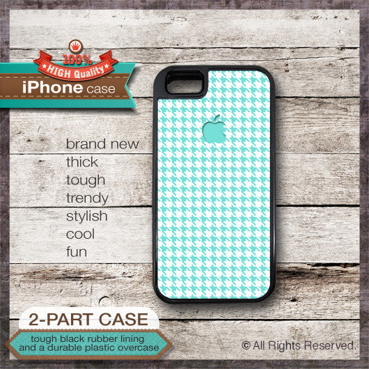 Houndstooth Pattern with Apple Logo Teal Color 01 - Choose from iPhone 4/4S, 5/5S, 5C, Samsung Galaxy S3 or S4 Case