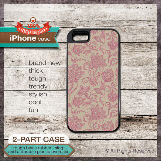 Floral pattern - Design Cover 05 - Choose from iPhone 4/4S, 5/5S, 5C, Samsung Galaxy S3 or S4 Case