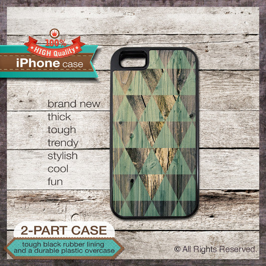 Geometric shapes on wood texture - Design Cover 07 - Choose from iPhone 4/4S, 5/5S, 5C, Samsung Galaxy S3 or S4 Case