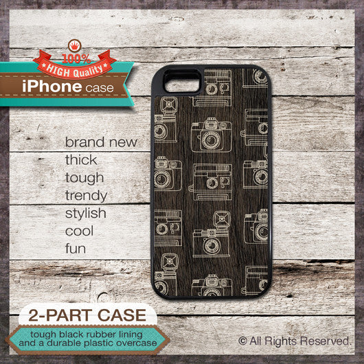 Camera pattern on wood texture - Design Cover 48 - Choose from iPhone 4/4S, 5/5S, 5C, Samsung Galaxy S3 or S4 Case