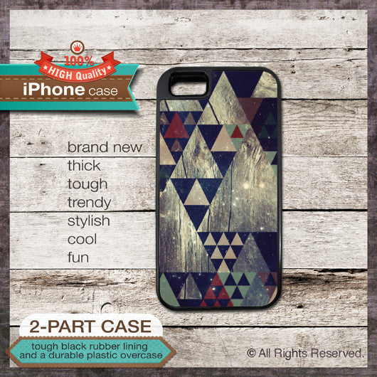 Geometric Galaxy on wood texture - Design Cover 52 - Choose from iPhone 4/4S, 5/5S, 5C, Samsung Galaxy S3 or S4 Case