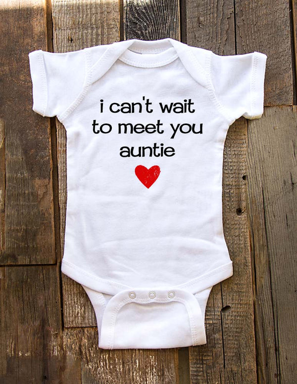i can't wait to meet you auntie - baby onesie birth pregnancy announcement - Baby One-Piece Bodysuit