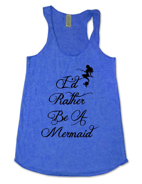 I'd Rather Be A Mermaid (design 1) - Soft Eco-Heather Racerback Tank for Women