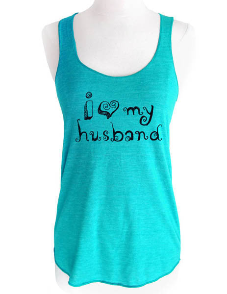 i love my husband - Soft Tri-Blend Racerback Tank