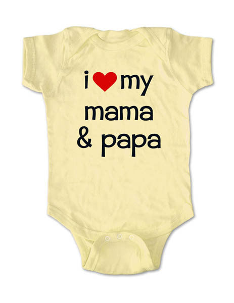 i love my mama & papa - Baby One-Piece Bodysuit, Infant, Toddler, Youth Shirt