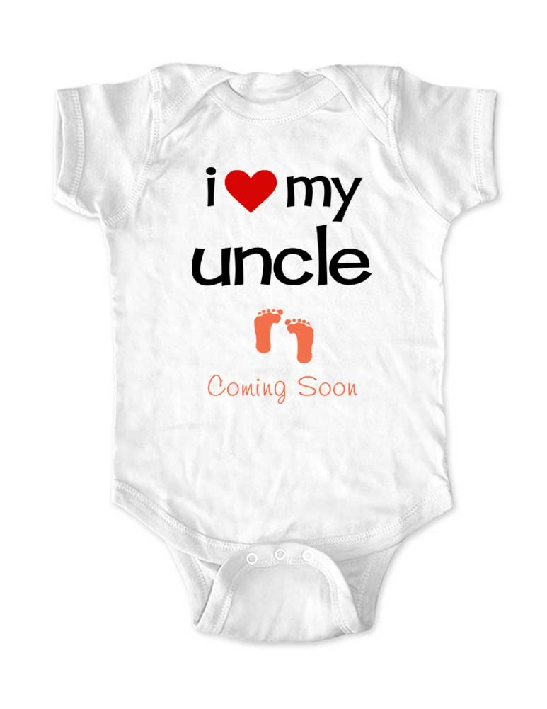i love my uncle - Coming Soon - baby onesie birth pregnancy announcement - Baby One-Piece Bodysuit