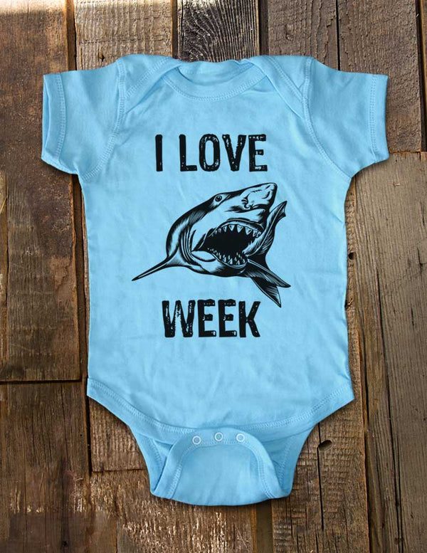 I Love Shark Week - Cute and Funny Baby One-Piece Bodysuit, Infant, Toddler, Youth Shirt