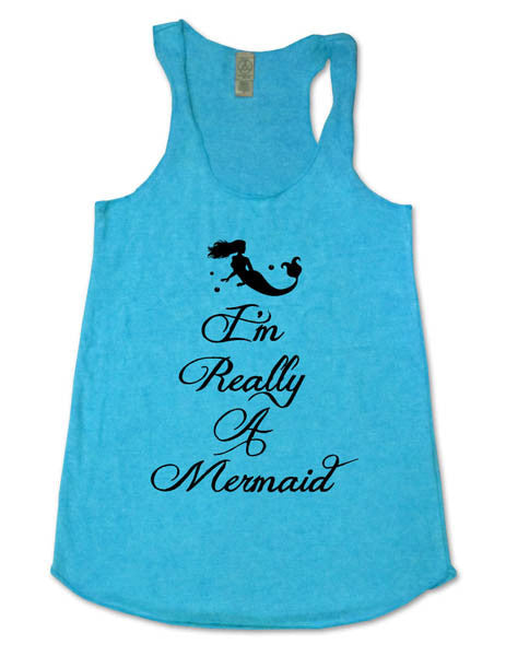 I'm Really A Mermaid (design 1) - Soft Eco-Heather Racerback Tank for Women
