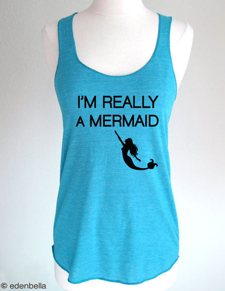 I'm Really A Mermaid (design 12) - Soft Eco-Heather Racerback Tank for Women
