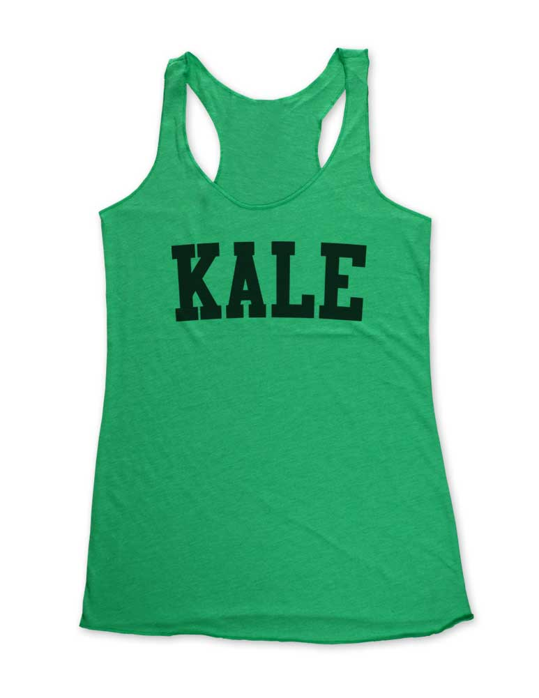 Kale  - Soft Tri-Blend Racerback Tank - Fitness workout gym exercise tank