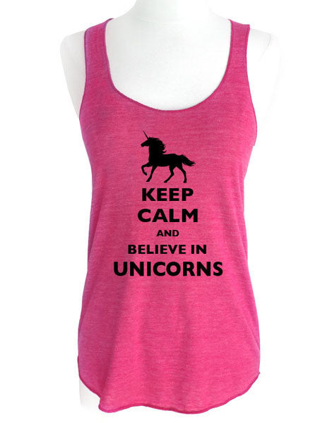 Keep Calm And Believe in Unicorns (design 2) - Soft Tri-Blend Racerback Tank