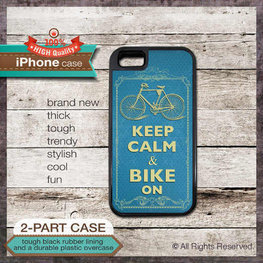 Keep Calm & Bike On - Choose from iPhone 4/4S, 5/5S, 5C, Samsung Galaxy S3 or S4 Case