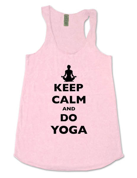 Keep Calm And Do Yoga - Soft Eco-Heather Racerback Tank for Women