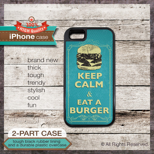 Keep Calm & Eat a Burger - Choose from iPhone 4/4S, 5/5S, 5C, Samsung Galaxy S3 or S4 Case