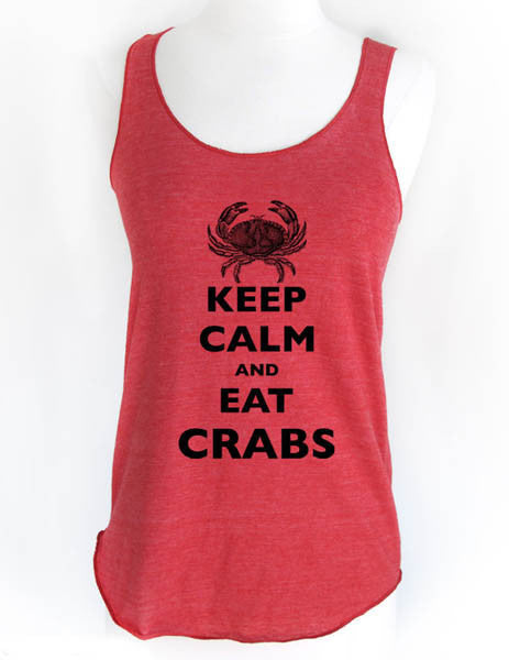 Keep Calm and Eat Crabs - Soft Tri-Blend Racerback Tank