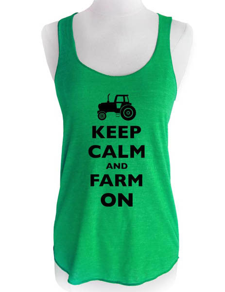 Keep Calm and Farm On - Soft Tri-Blend Racerback Tank