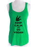 Keep Calm and Go Vegan - Soft Tri-Blend Racerback Tank