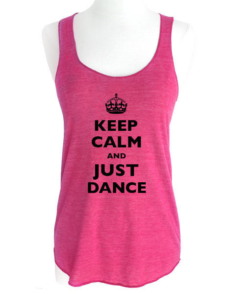 Keep Calm and Just Dance - Soft Tri-Blend Racerback Tank