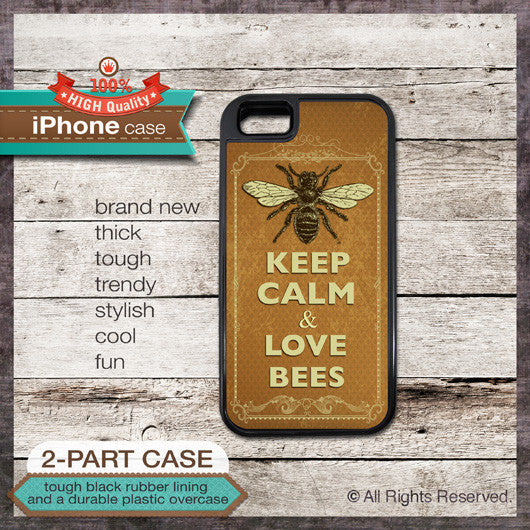 Keep Calm & Love Bees - Choose from iPhone 4/4S, 5/5S, 5C, Samsung Galaxy S3 or S4 Case