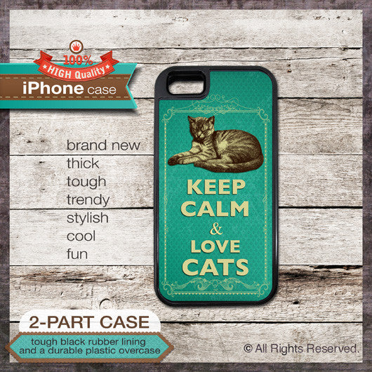 Keep Calm & Love Cats - Choose from iPhone 4/4S, 5/5S, 5C, Samsung Galaxy S3 or S4 Case