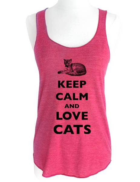 Keep Calm and Love Cats - Soft Tri-Blend Racerback Tank