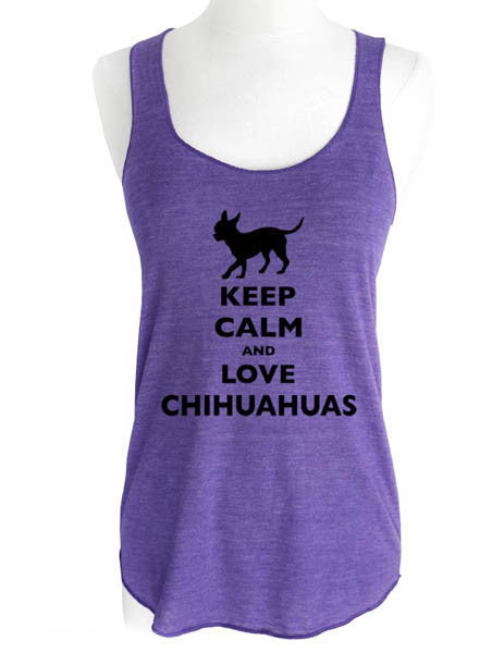 Keep Calm and Love Chihuahuas - Soft Tri-Blend Racerback Tank