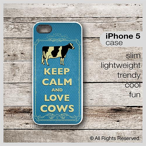 Keep Calm & Love Cows (holstein) - Choose from iPhone 4/4S, 5/5S, 5C, Samsung Galaxy S3 or S4 Case
