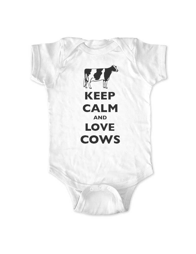 Keep Calm and Love Cows (holstein) - Baby One-Piece Bodysuit, Infant, Toddler, Youth Shirt