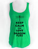 Keep Calm and Love Dragonflies - Soft Tri-Blend Racerback Tank