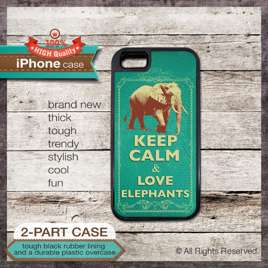 Keep Calm & Love Elephants - Choose from iPhone 4/4S, 5/5S, 5C, Samsung Galaxy S3 or S4 Case