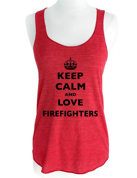 Keep Calm and Love Firefighters - Soft Tri-Blend Racerback Tank