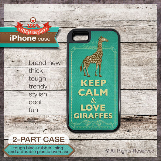 Keep Calm & Love Giraffes - Choose from iPhone 4/4S, 5/5S, 5C, Samsung Galaxy S3 or S4 Case