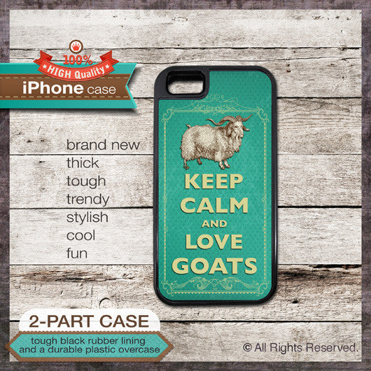 Keep Calm & Love Goats - Choose from iPhone 4/4S, 5/5S, 5C, Samsung Galaxy S3 or S4 Case