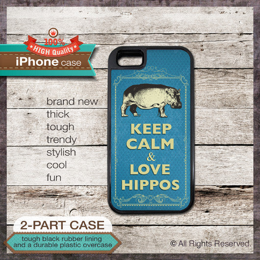 Keep Calm & Love Hippos - Choose from iPhone 4/4S, 5/5S, 5C, Samsung Galaxy S3 or S4 Case