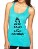 Keep Calm and Love Pandas - Soft Tri-Blend Racerback Tank