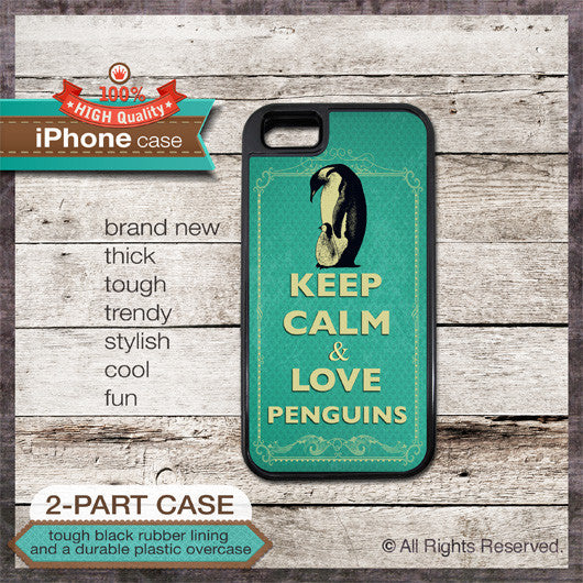 Keep Calm & Love Penguins - Choose from iPhone 4/4S, 5/5S, 5C, Samsung Galaxy S3 or S4 Case