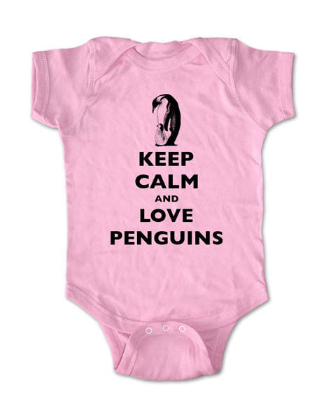 Keep Calm and Love Penguins - Baby One-Piece Bodysuit, Infant, Toddler, Youth Shirt
