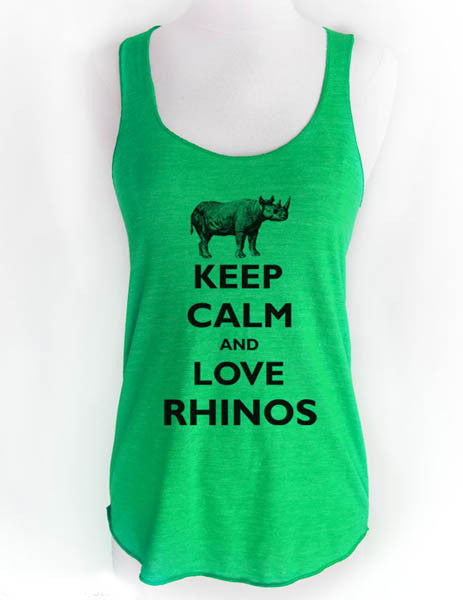 Keep Calm and Love Rhinos - Soft Tri-Blend Racerback Tank