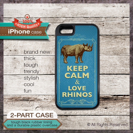 Keep Calm & Love Rhinos - Choose from iPhone 4/4S, 5/5S, 5C, Samsung Galaxy S3 or S4 Case